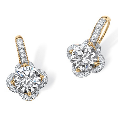 4.77 TCW Round Cubic Zirconia Clover Drop Earrings in 14k Gold over Sterling Silver at PalmBeach Jewelry
