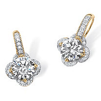 4.77 TCW Round Cubic Zirconia Clover Drop Earrings in 14k Gold over Sterling Silver