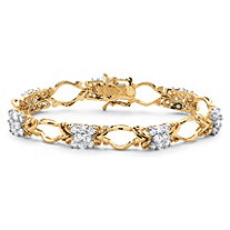 4.48 TCW Cubic Zirconia Decorative Cluster Link Bracelet 18k Gold Over Sterling Silver