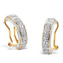 "1/2 TCW Round Diamond Semi-Hoop Earrings in 18k Yellow Gold over .925 Sterling Silver (7/8"")"