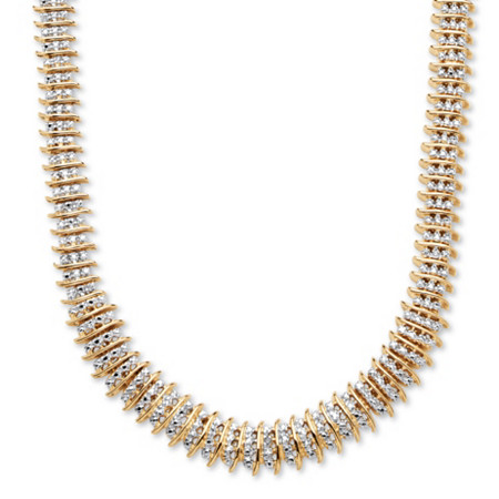"1/5 TCW Diamond Accent Graduated S-Link Tennis Necklace 18k Gold-Plated 18"" at PalmBeach Jewelry"