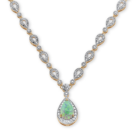 1.50 TCW Pear-Cut Simulated Opal Cabochon Halo Drop Necklace 18k Yellow Gold-Plated at PalmBeach Jewelry