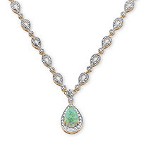 1.50 TCW Pear-Cut Simulated Opal Cabochon Halo Drop Necklace 18k Yellow Gold-Plated