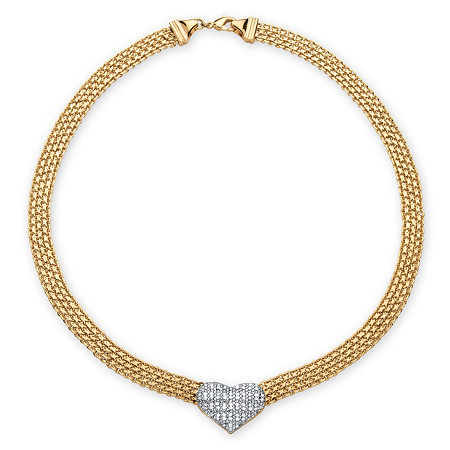 5/8 TCW Diamond Accent Puffed Heart and Flat Chain Link Necklace 18k Gold-Plated at PalmBeach Jewelry