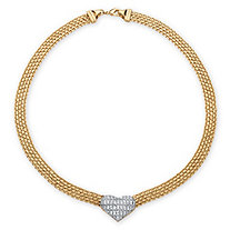 5/8 TCW Diamond Accent Puffed Heart and Flat Chain Link Necklace 18k Gold-Plated