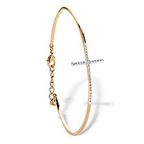Pave Diamond Accent Horizontal Cross Bracelet 18k Gold-Plated