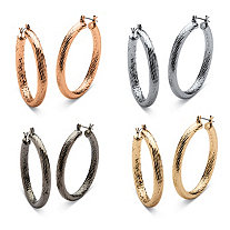 Silvertone, Gold Tone, Rose Gold Tone, Black Ruthenium-Plated Hoop Earrings 4-Pair Set (2