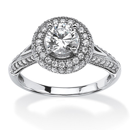 1.56 TCW Cubic Zirconia Halo Bridal Ring Set in Platinum Over .925 Sterling Silver at PalmBeach Jewelry