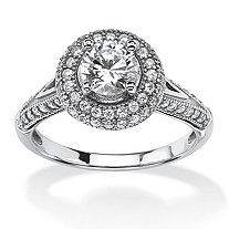 1.56 TCW Cubic Zirconia Halo Bridal Ring Set in Platinum Over .925 Sterling Silver