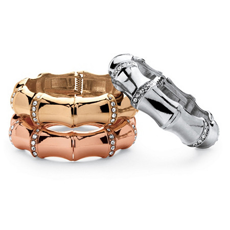 Three-Piece Set of Crystal Bamboo Hinged Bangle Bracelets in Silvertone, Gold Tone, and Rose-Plated at PalmBeach Jewelry