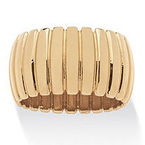 SETA JEWELRY Tailored Dome Section Band Gold Ion-Plated