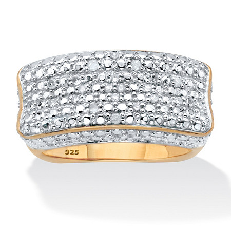 1/5 TCW Diamond Bar Ring with Square Back in 18k Gold over .925 Sterling Silver at PalmBeach Jewelry