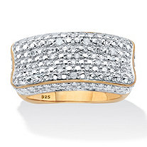 1/5 TCW Diamond Bar Ring with Square Back in 18k Gold over .925 Sterling Silver
