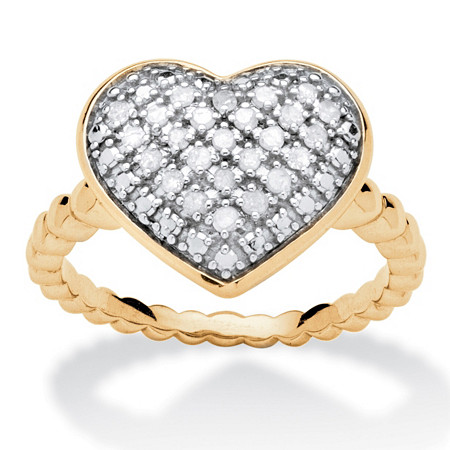 1/4 TCW Diamond Puffed Heart Ring Set in 18k Gold Over Sterling Silver at PalmBeach Jewelry