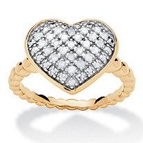 1/4 TCW Diamond Puffed Heart Ring Set in 18k Gold Over Sterling Silver
