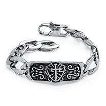 Men's Cross and Shield I.D. Link Etched Bracelet in Antiqued Stainless Steel 10