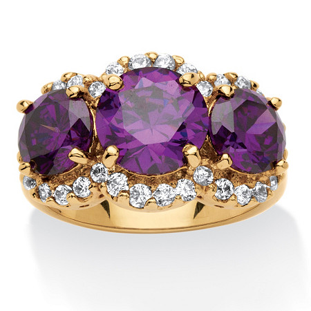 6.74 TCW 3-Stone Cushion-Cut Purple Cubic Zirconia Ring 18k Gold-Plated at PalmBeach Jewelry