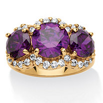 6.74 TCW 3-Stone Cushion-Cut Purple Cubic Zirconia Ring 18k Gold-Plated