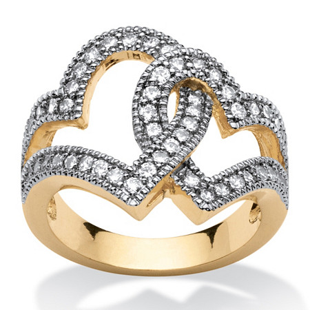 1.06 TCW Cubic Zirconia Interlocking Hearts Ring 14k Gold-Plated at PalmBeach Jewelry