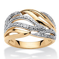Diamond Accent Leaf Wrap Cocktail Ring in 18k Gold over Sterling Silver