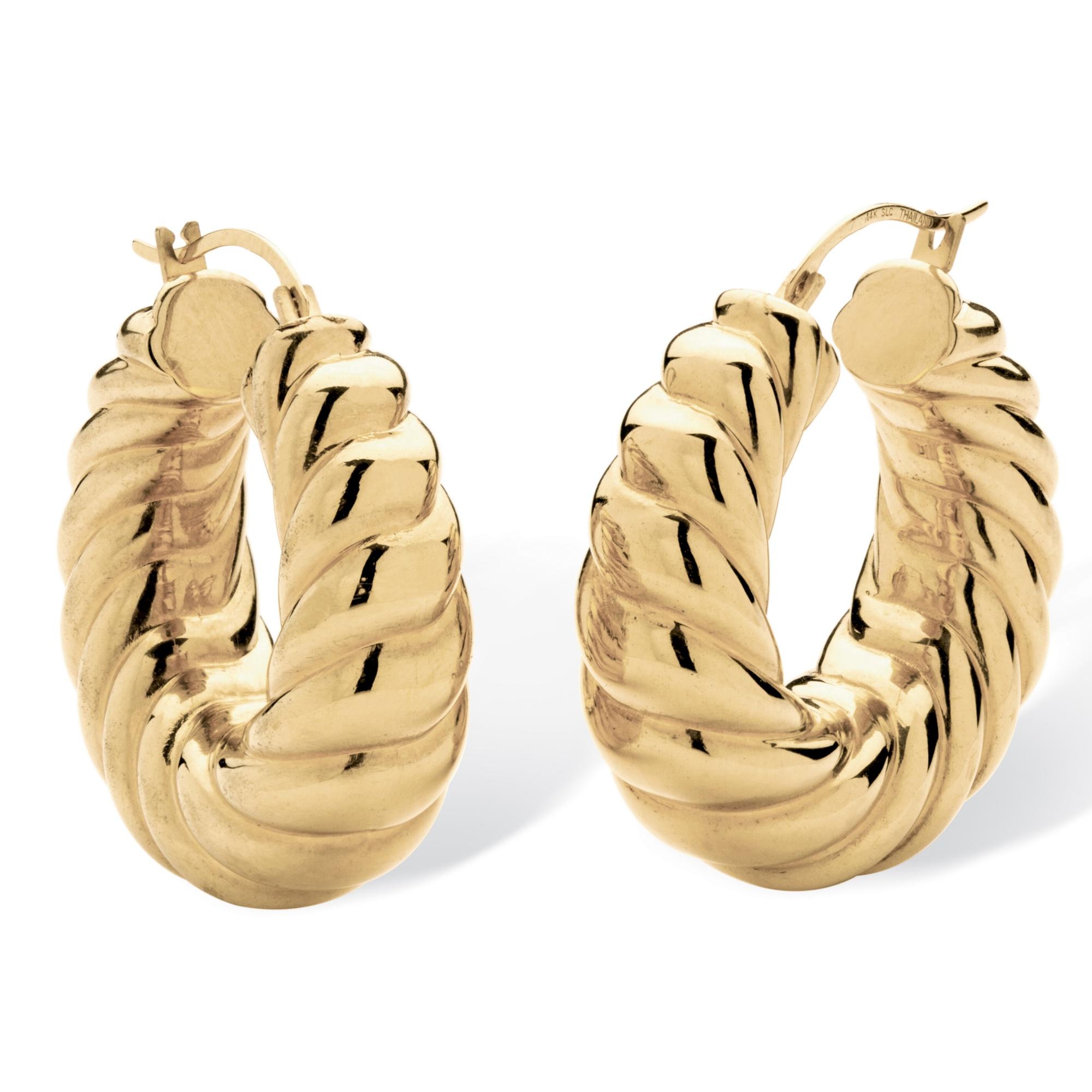 14k Gold Shrimp Style Hoop Earrings Nano Diamond Resin Filled 1 1 4
