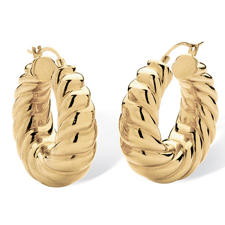 "14k Gold Shrimp-Style Hoop Earrings Nano Diamond Resin Filled (1 1/4"") at PalmBeach Jewelry"