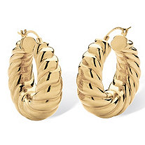 "14k Gold Shrimp-Style Hoop Earrings Nano Diamond Resin Filled (1 1/4"")"