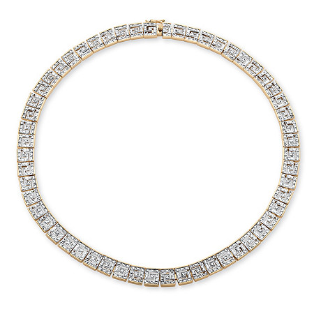 1/5 TCW Diamond Greek Key Design Necklace 18k Gold-Plated at PalmBeach Jewelry