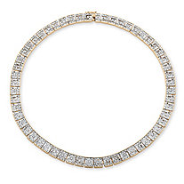 1/5 TCW Diamond Greek Key Design Necklace 18k Gold-Plated