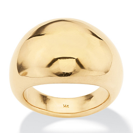 Polished 14k Yellow Gold Nano Diamond Resin Filled Dome Ring at PalmBeach Jewelry