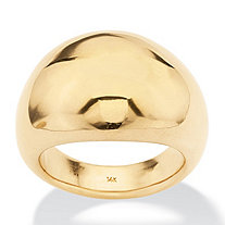 14k Gold Dome Ring Nano Diamond Resin Filled
