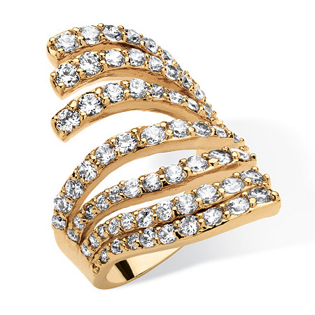 2.74 TCW Cubic Zirconia Multi-Row Fashion Ring 18k Gold-Plated at PalmBeach Jewelry