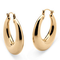 "14k Gold Polished Tube Hoop Earrings Nano Diamond Resin Filled (1"")"
