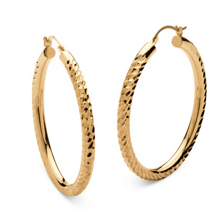 14k Gold Diamond Cut Twist Hoop Earrings Nano Diamond Resin Filled (1 1/2