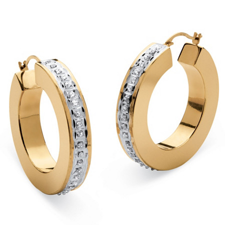 14k Gold Diamond Fascination Flat Hoop Earrings Nano Diamond Resin Filled (1 1/4