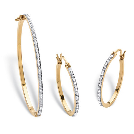 Diamond Fascination Bracelet and Earrings Set in 18k Gold over .925 Sterling Silver at PalmBeach Jewelry