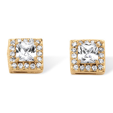 1.82 TCW Princess-Cut Cubic Zirconia Halo Earrings Set in Gold Over Sterling Silver at PalmBeach Jewelry