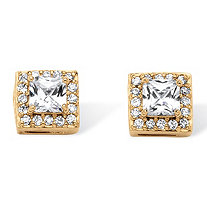 1.82 TCW Princess-Cut Cubic Zirconia Halo Earrings Set in Gold Over Sterling Silver