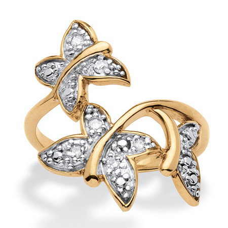 Diamond Accent Butterfly Ring in 18k Gold over Sterling Silver at PalmBeach Jewelry