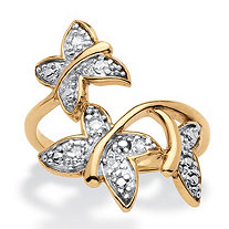Diamond Accent Butterfly Ring 18k Gold over Sterling Silver