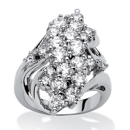Cubic Zirconia Cluster Cocktail Ring 3.44 TCW Platinum-Plated at PalmBeach Jewelry
