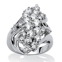 3.44 TCW Cubic Zirconia Cluster Cocktail Ring Platinum-Plated