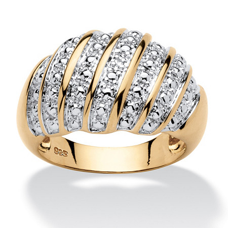 Diamond Accent PavΘ-Style Dome Ring in 14k Gold over Sterling Silver at PalmBeach Jewelry