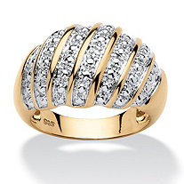 Pave Diamond Accent Dome Ring in 14k Gold over Sterling Silver