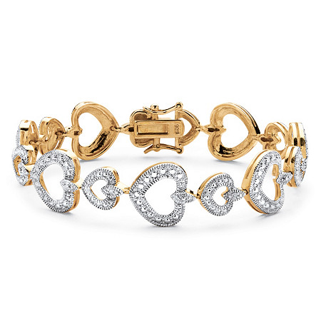 Diamond Accent Heart Link Bracelet in 14k Gold Over Sterling Silver at PalmBeach Jewelry