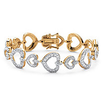 Diamond Accent Heart Link Bracelet in 14k Gold Over Sterling Silver