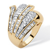 3.32 TCW Cubic Zirconia Fan Cocktail Ring 14k Gold-Plated