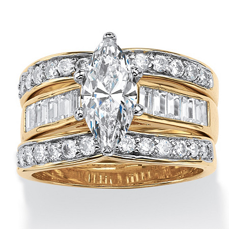 3.86 TCW Marquise-Cut Cubic Zirconia 3-Piece Bridal Set Gold-Plated at PalmBeach Jewelry