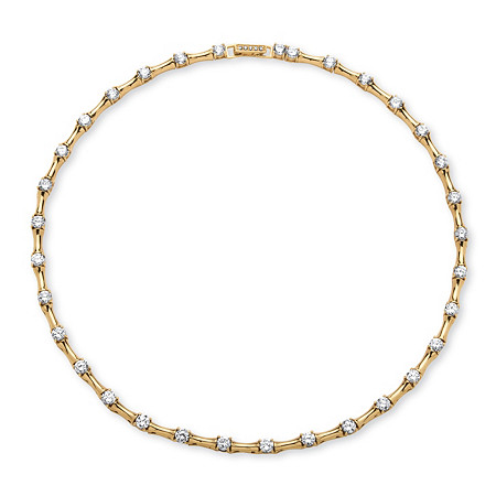 9.33 TCW Cubic Zirconia Bamboo Link Necklace 14k Gold-Plated at PalmBeach Jewelry