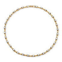 9.33 TCW Cubic Zirconia Bamboo Link Necklace 14k Gold-Plated